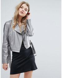 New Look - Metallic Leather Look Biker Jacket - Lyst
