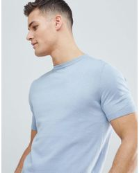 Reiss - Knitted Crew Neck T-shirt In Blue - Lyst