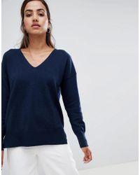 French Connection - Dehla Valli Wool Blend V-neck Jumper - Lyst