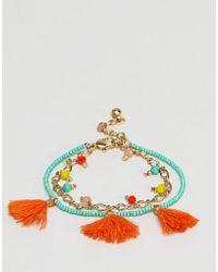 ASOS - Summer Bead And Tassel Multirow Bracelet - Lyst
