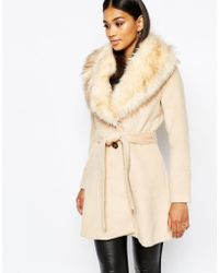 Lipsy - Michelle Keegan Loves Coat With Faux Fur Collar - Lyst