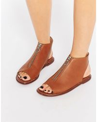 Warehouse - Leather Zip Up Shoe Boot - Tan - Lyst