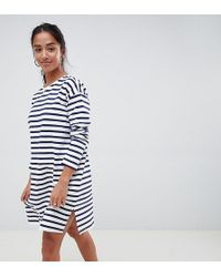ASOS - Asos Design Petite Sweat Dress In Stripe With Long Sleeves - Lyst