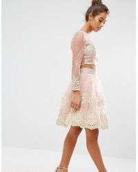 Chi Chi London - All Over Premium Embroidered Full Prom Midi Skirt Co-ord - Lyst