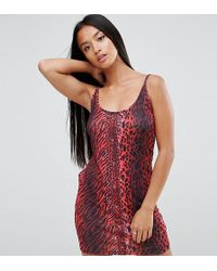 ASOS - Mini Dress With Popper Detail In Red Leopard - Lyst