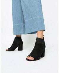 River Island - Sock Heel Boots In Black - Lyst
