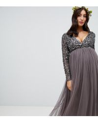 6bfb9481d2de3 Maya Maternity V Neck Maxi Tulle Dress With Tonal Delicate Sequins in  Natural - Lyst