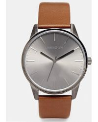 Unknown - Tan Leather Strap Watch With Gunmetal Dial - Lyst