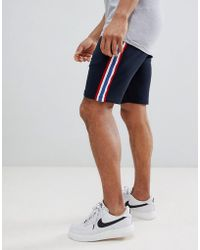 ASOS - Jersey Skinny Shorts With Side Stripe In Navy - Lyst