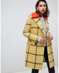 River Island - Yellow Check Faux Fur Collar Coat - Lyst
