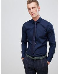Michael Kors - Slim Fit Smart Shirt In Navy Stretch - Lyst