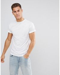 New Look - T-shirt With Rolled Sleeves In White - Lyst