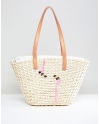 Chateau - Straw Beach Bag With Embroidered Flamingos - Lyst
