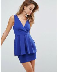 ASOS - Asos Scuba Deep Plunge Peplum Mini Dress - Lyst