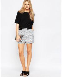 Just Female - Grape Shorts With Black Brush Print - White - Lyst