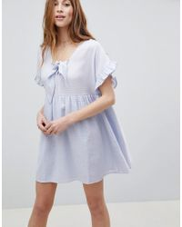 ASOS DESIGN - Asos Casual Mini Smock Dress In Grid Texture With Bunny Tie - Lyst