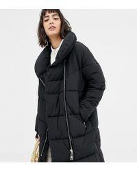 Mango - Oversized Longline Zip Front Padded Coat In Black - Lyst