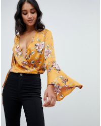Lipsy - Fluted Sleeve Body In Floral Print - Lyst