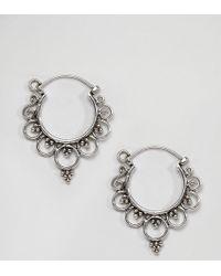 Kingsley Ryan - Sterling Silver Mini Ornate Hoop Earrings - Lyst