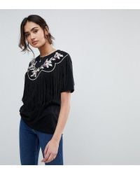 ASOS - T-shirt With Embroidered Yoke And Fringe Detail - Lyst