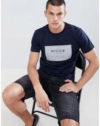 Nicce London - Nicce Box Logo T-shirt In Navy - Lyst