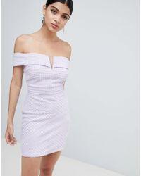 Missguided - Bardot V Neck Bodycon Mini Dress - Lyst