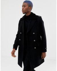 ASOS - Trench nero in misto lana con colletto in pelo effetto pecora - Lyst
