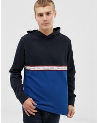 Abercrombie & Fitch - Colourblock Chest Logo Tape Sweatshirt In Navy/blue - Lyst