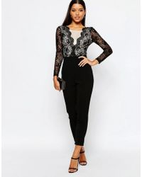 Lipsy | Scallop Lace Front Tailored Jumpsuit | Lyst