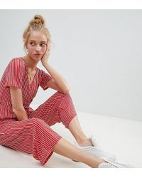 Daisy Street - Jumpsuit With Wrap Front In Stripe - Lyst