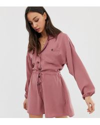 8ab8b1e945 ASOS Asos Design Curve Slouchy Waisted Boiler Playsuit in Pink - Lyst