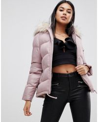 Lipsy - Cropped Puffer Jacket With Hood And Faux Fur Trim In Pink - Lyst