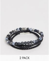 Seven London - Black Beaded & Wrap Bracelet In 2 Pack Exclusive To Asos - Lyst