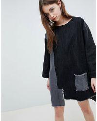 WÅVEN - Eira Patchwork Denim Shift Dress - Lyst