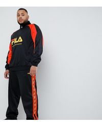 Fila - Joggers de tricot de polister negros con detalle de cinta de - Lyst