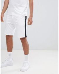 Bershka - Jogger Shorts With Side Stripe In White - Lyst