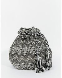 Becksöndergaard - Bucket Bag In Monochrome Tapestry With Beading And Tassles - Lyst