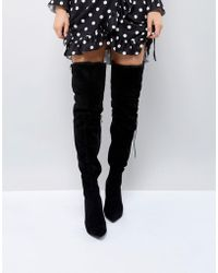 1eb2af77a4ef PrettyLittleThing - Faux Fur Trim Heeled Over The Knee Boot - Lyst