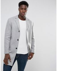 SELECTED - Wool Mix Overcoat - Lyst