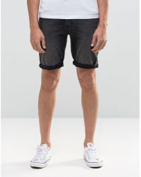 ASOS - Denim Shorts In Skinny Vintage Charcoal - Lyst