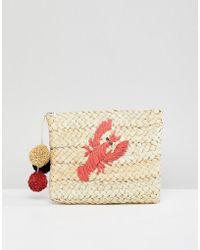 Pull&Bear - Lobster Print Straw Bag In Tan - Lyst