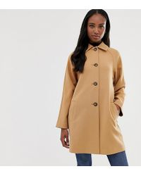 ASOS - Asos Design Tall Crepe Coat With Buttons - Lyst