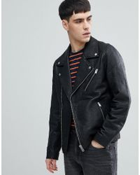 SELECTED - Leather Biker Jacket - Lyst