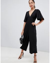 ASOS - Tea Jumpsuit With Empire Seam And Flutter Sleeve - Lyst