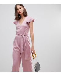 Warehouse - Frill Sleeve Twist Back Jumpsuit In Pink - Lyst
