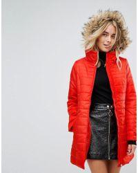 Vero Moda - Padded Parka With Faux Fur Hood - Lyst