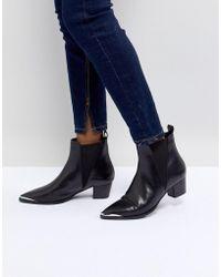 Office - Azalea Black Leather Western Tipped Boots - Lyst