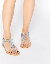 0d547677402 Forever Unique - Maiden Embellished Toepost Flat Sandals - Lyst