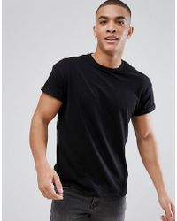 New Look - T-shirt With Rolled Sleeves In Black - Lyst