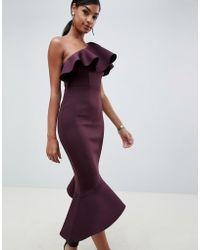 ASOS DESIGN - One Shoulder Pephem Midi Bodycon Dress - Lyst